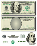 100 Dollar bill  with easy removable elements
