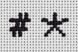 Cross-stitch - Alphabet and Icons - Hashtag, Asterisk