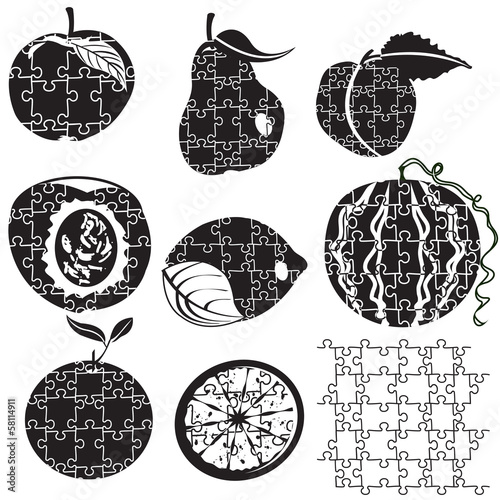 Different fruit silhouettes   made as puzzles
