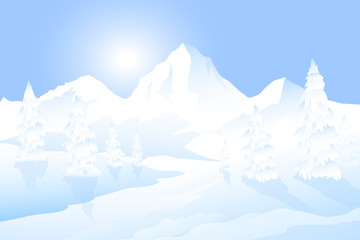 Winter Morning Landscape -vector