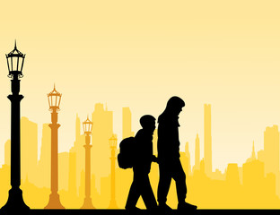 Kids going to school with backpack silhouette layered