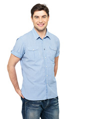 Portrait of happy man in blue casual shirt