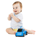 baby playing with toy cars