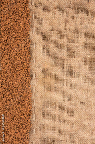 Granulated coffee lying on sackcloth