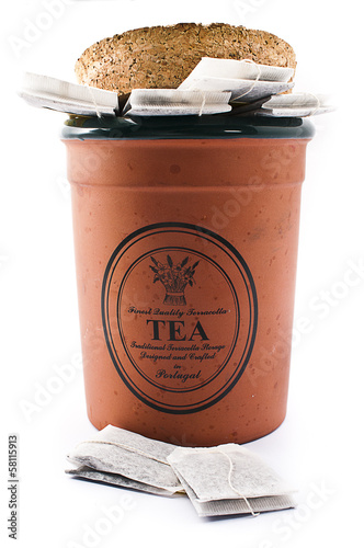 Tea Bags in a Clay Container with Cork Lid