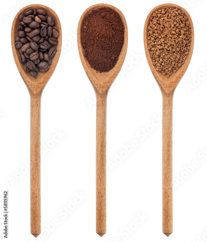 Three spoons freshly ground coffee, beans, granular