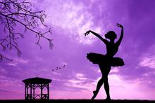silhouette de danseur au coucher du soleil