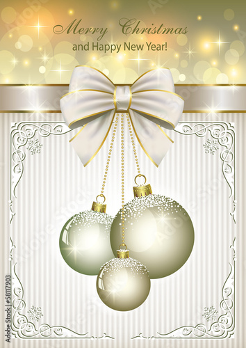 Christmas card with balls and elegantly decorated with a bow