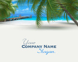 Tropical travel background with pier