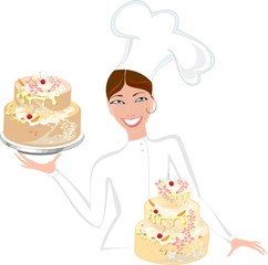 Smiling female baker with cake