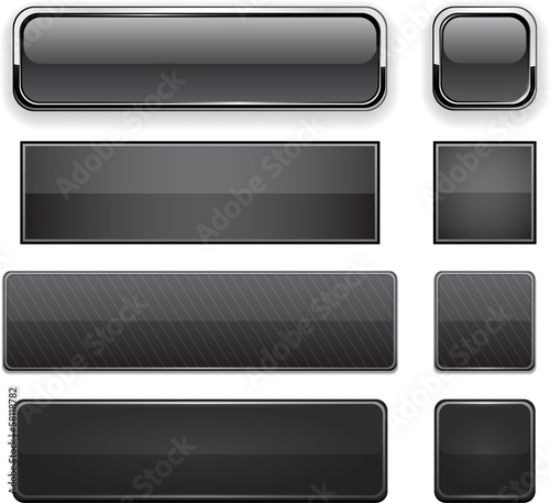 Black high-detailed modern web buttons.