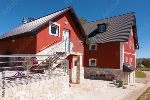 Luxury family houses and blue sky