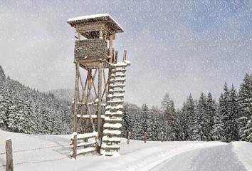 hochstand im winter für jäger