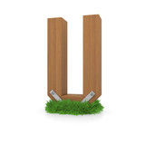 Wooden letter U in the grass