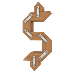 Wooden dollar sign