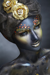 woman with black face