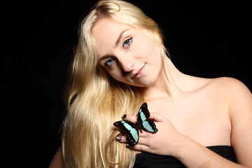 blue eyed blond butterfly girl
