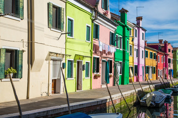 Laundry on Colorful Burano Buildings by Canal