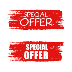 special offer on red drawn banner