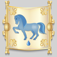 Image of a blue horse on the eastern calendar