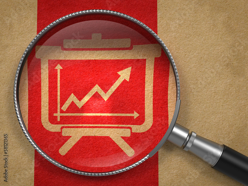 Magnifying Glass with Flipchart Icon.