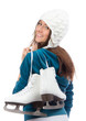 Young woman with ice skates for winter ice skating sport activit