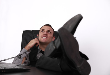 Relaxed Young Businessman on the Phone