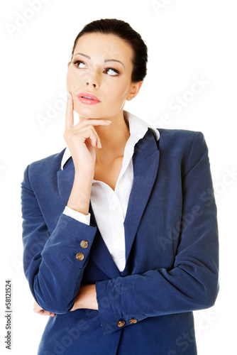 Young attractive businesswoman. Face expression. Thinking.