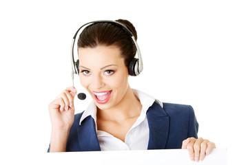 Attractive businesswoman on call centre.