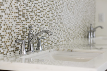 Contemporary twin bathroom sinks and fixtures