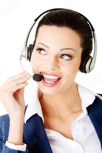 Attractive businesswoman on call centre.