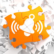 Ringing White Bell Icon on Orange Puzzle.