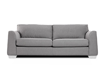Studio shot of a grey modern sofa