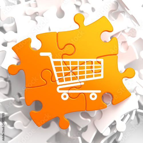 Shopping Cart Icon on Orange Puzzle.