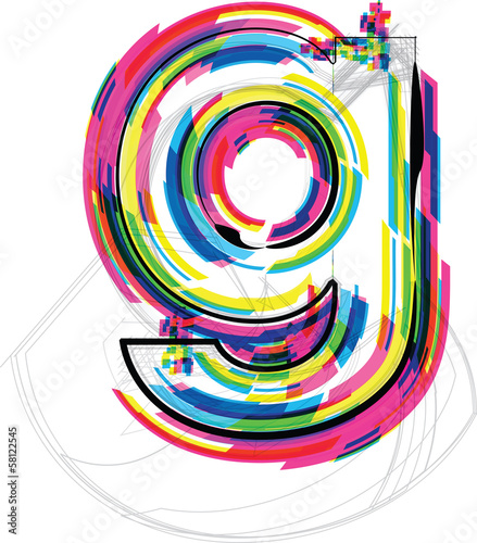 font Illustration. LETTER g. Vector illustration