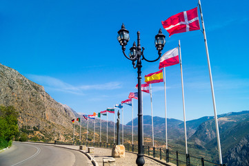 Row of european flags at Delphi, Greece