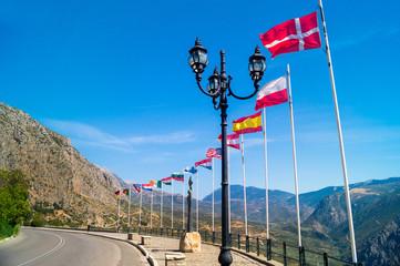 Row of european flags at Delphi, Greece
