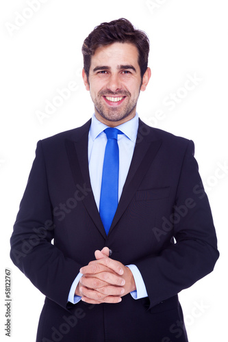 Portrait of a handsome business man, isolated on a white backgro