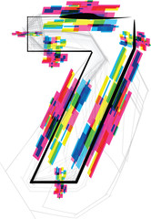 font Illustration. Number 7. Vector illustration