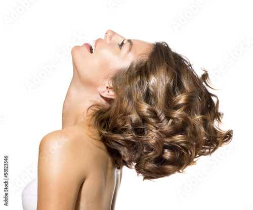 Beauty Young Woman Profile Portrait over White Background