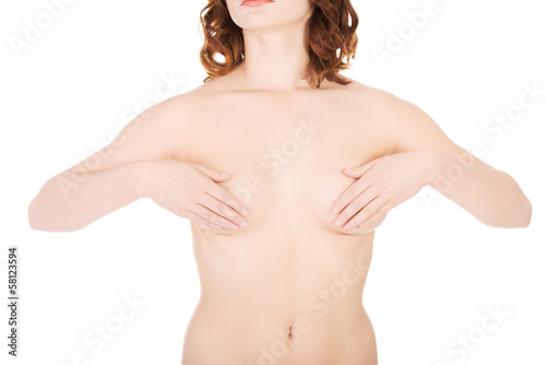 Attractive sexy naked female body. Front view.