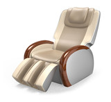 Beige comfortable massage chair with wood armrest
