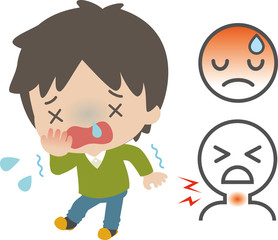風邪の症状のイラスト