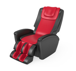 Red and black comfortable massage chair with clipping path