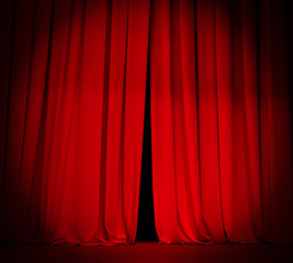 theater stage red curtain with spotlight background