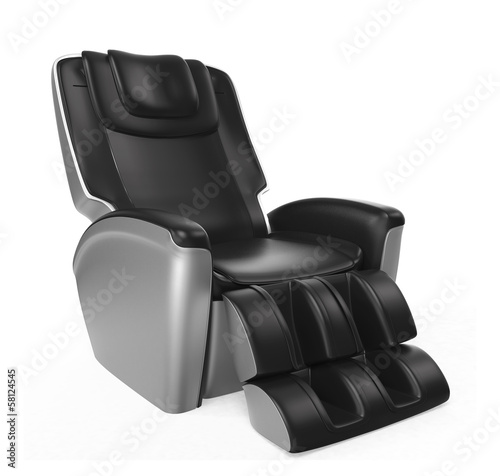 Black comfortalbe massage chair with clipping path