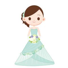 結婚式 お色直し 水色のドレス