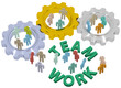 Teamwork people join in gears