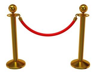 Golden rope barrier over white