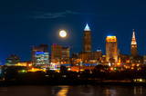 The full moon rises over Cleveland Ohio